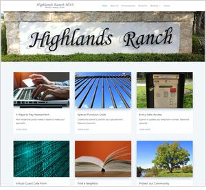 Homepage of the Highlands Ranch HOA website