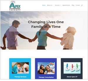 Homepage of the Apex Occupational Therapy website
